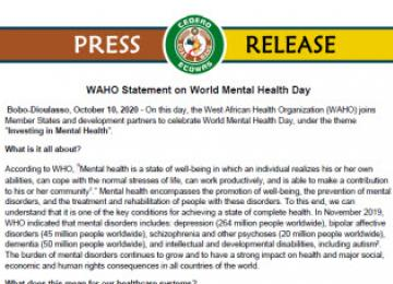 WAHO Statement on World Mental Health Day